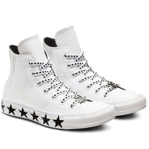 Miley Cyrus x Converse white high top sneakers